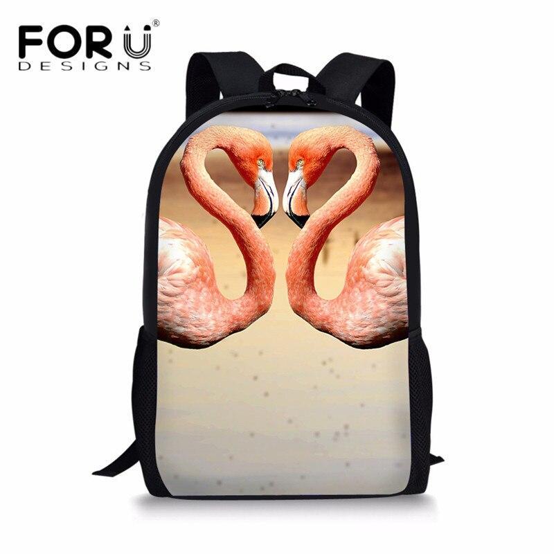 FORUDESIGNS Stylish School Bags for Girls Pink Animal Flamingo Printing Backpacks Teenager Kids School Bagpack Mochila Escolar