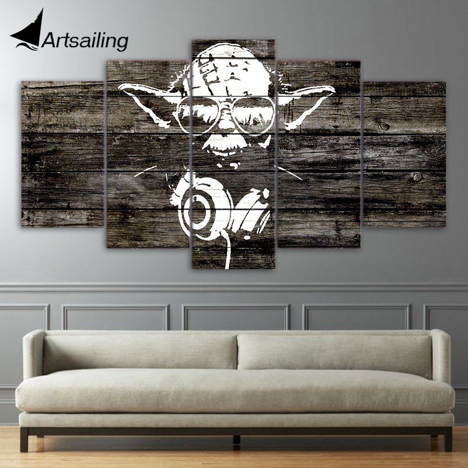 Aliexpress Com Buy Hdartisan Wall Canvas Art Pictures: 5 Pieces Canvas Paintings Printed Yoda Star Wars Wall Art