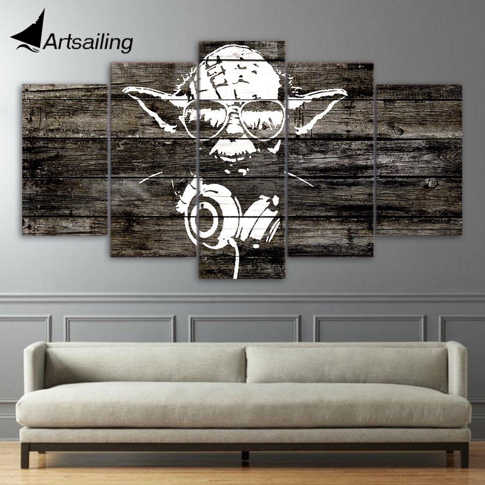 5 Pieces Canvas Paintings Printed Yoda Star Wars Wall Art ...