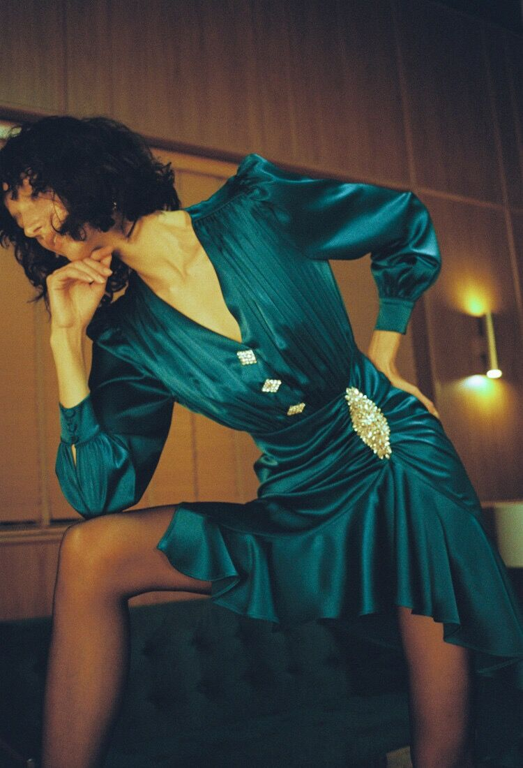 2019 Button Alta V Scollo Serxy Verde Aderente Maniche Mini Dalla Donne Fasciatura Elegante Di Vestito A Lunghe Dropshipping Qualità pFqnRwxnXB