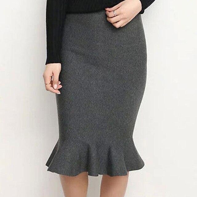 86f346d2346285 Femmes tricot jupe taille haute élastique volants sirène jupes femme Slim  Sexy Saia automne hiver noir rouge tricoté