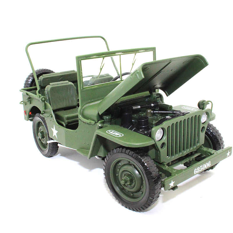 KDW 1:18 Alloy car model Diecast Jeep Old World War II Willis Military Vehicle Collection decoration kids toys