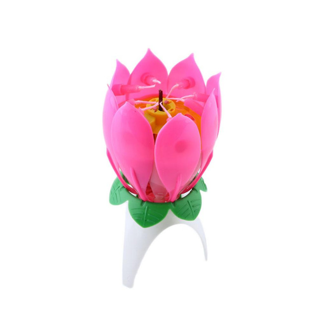 1pc Romantic Pink Color Happy Birthday Party Lotus Flower Candles Gift Music Single Layer Event Supplies