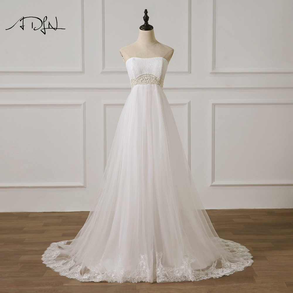 ADLN Strapless Sleeveless Empire Wedding Dresses with Pearls Sweep Train Tulle vestidos de novia  Plus Size Bride Gown