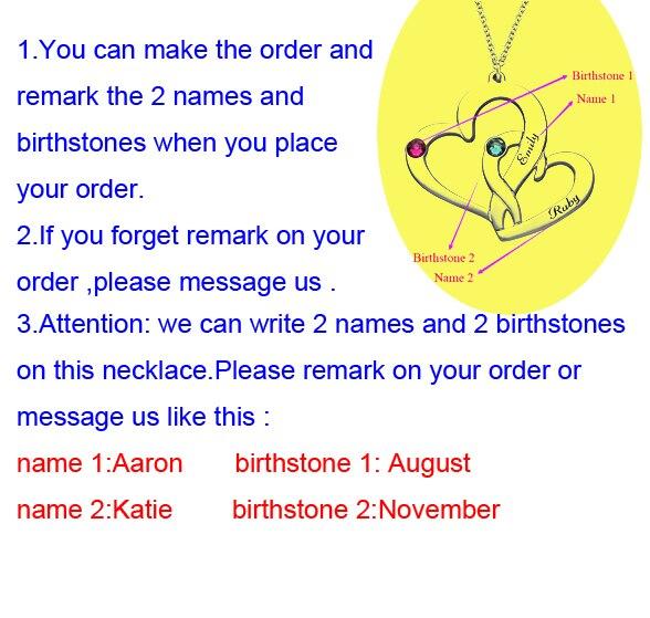 f4f63661f1bf Elegante corazón Birthstone collar nuevo anuncio grabado nombre ...