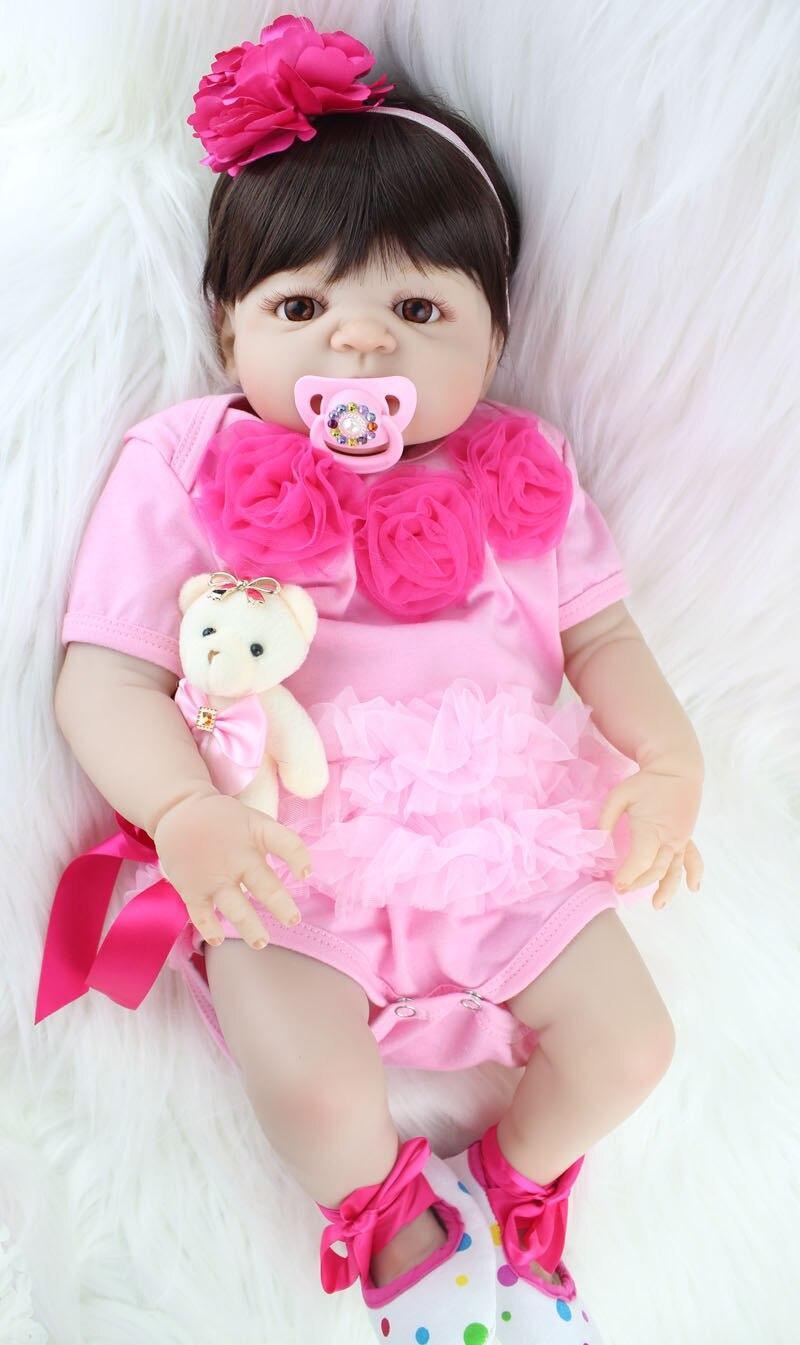 55 cm Corpo Pieno di Silicone Reborn Baby Girl Doll Toy Realistica Rosa Vestito Dalla Principessa Appena Nato Bambini Bambola Carino Regalo Di Compleanno fare il bagno Giocattolo