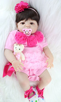 55cm Full Body Silicone Reborn Girl Baby Doll Toy Lifelike Pink Princess Dress Newborn Babies Doll Cute Birthday Gift Bathe Toy