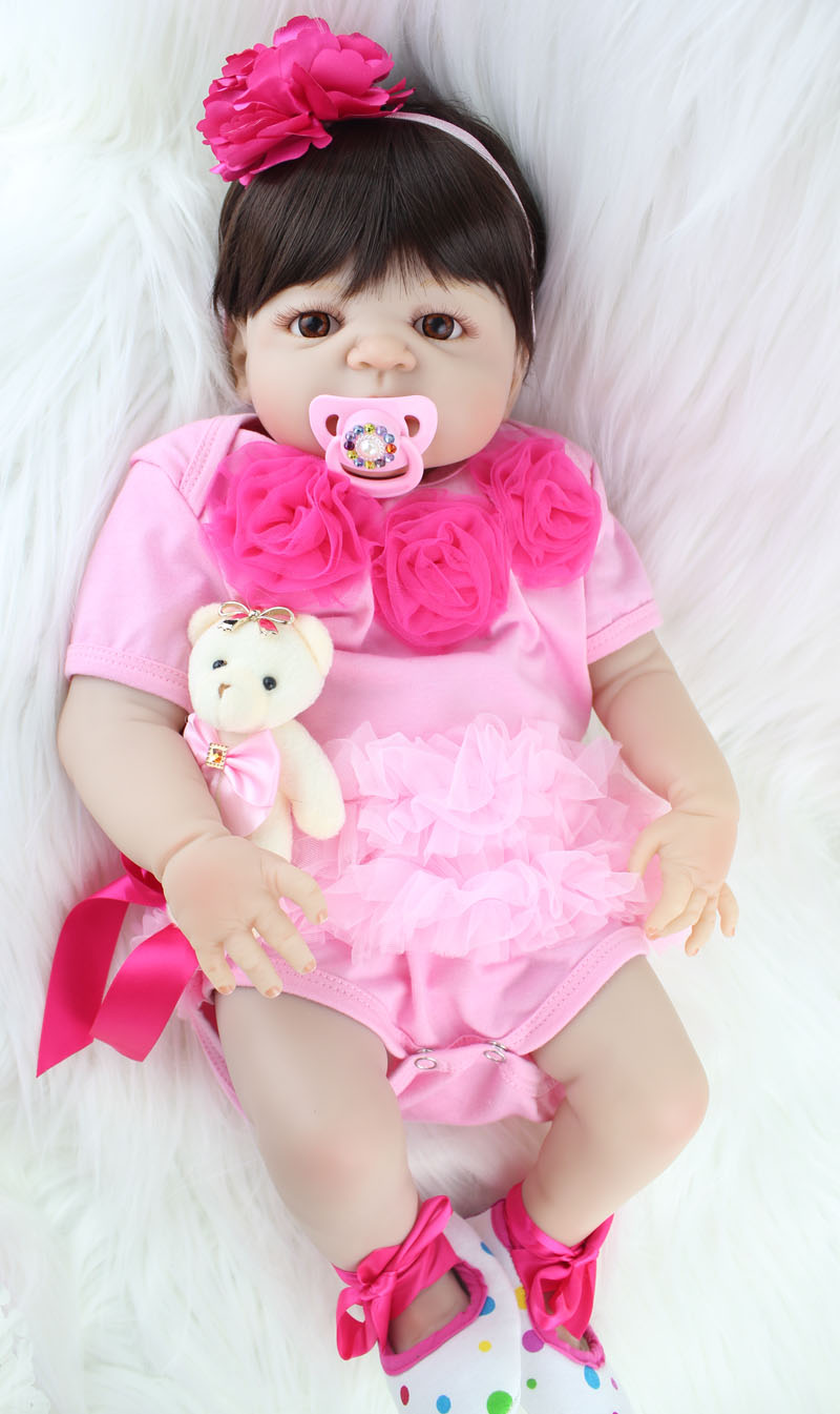 55cm Full Body Silicone Reborn Girl Baby Doll Toy Lifelike Pink Princess Dress Newborn Babies Doll Cute Birthday Gift Bathe Toy