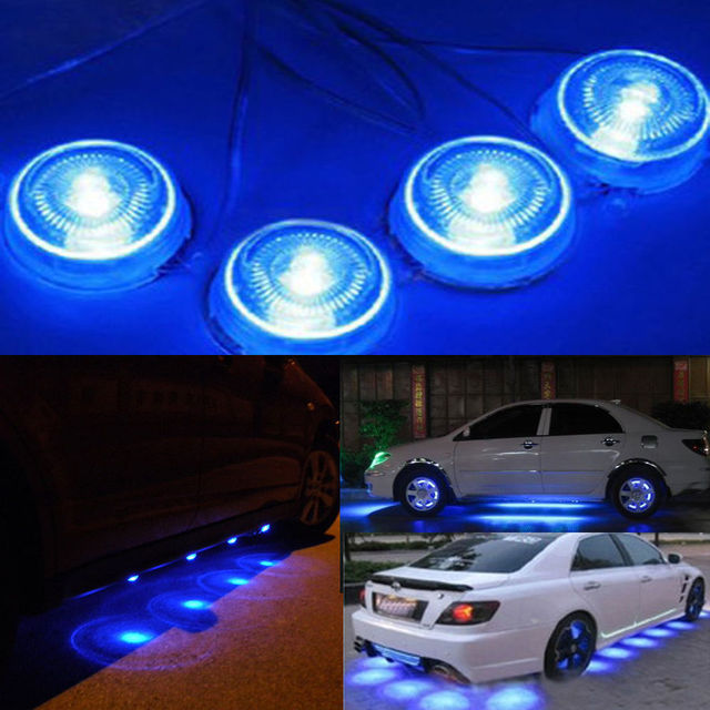 possbay 8pcs led blue light under glow interior undercar decoration