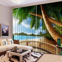 High Quality 3D Printing Curtains Beneficial to Eyes Beach Scenery Curtains Bedroom Living Room Curtains CL 069
