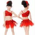 Meninas Jazz / Latin / Ballet traje de dança crianças vestido de festa up dança Top saia Performances de palco roupa