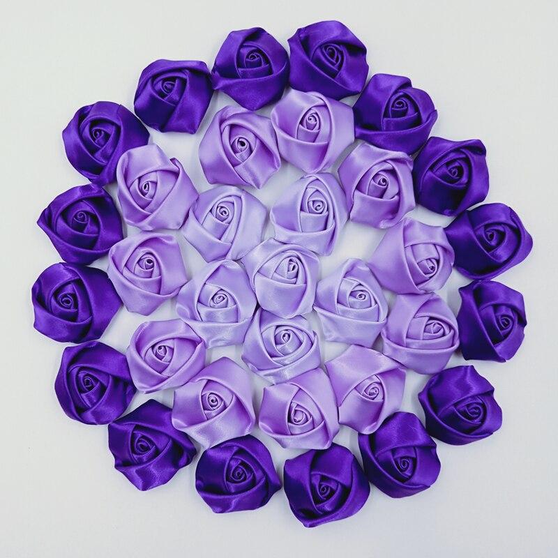 10Pieces/Bag New Purple Series 3.5CM Satin Ribbon Rose Flower Silk Fabric Flower Hand DIY Wedding Bouquet Hair Cloth Accessories
