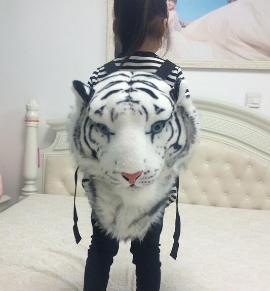 Candice guo! super cool dos desenhos animados de pelúcia mochila brinquedo simulação cabeça do tigre personalidade sacos crianças criativo presente de aniversário 1 pc