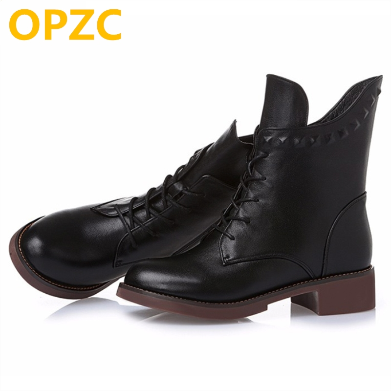 Women's boots, genuine leather single 2018 winter boots with ankle boots. in leather high top casual Martin boots free shipping