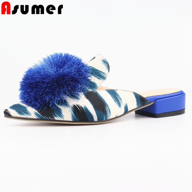 ASUMER 2019 ロシア新着女性スリッパつま先の房夏靴の外側レディースミュールファッション女性の靴のサイズ 42  グループ上の 靴 からの スリッパ の中 1