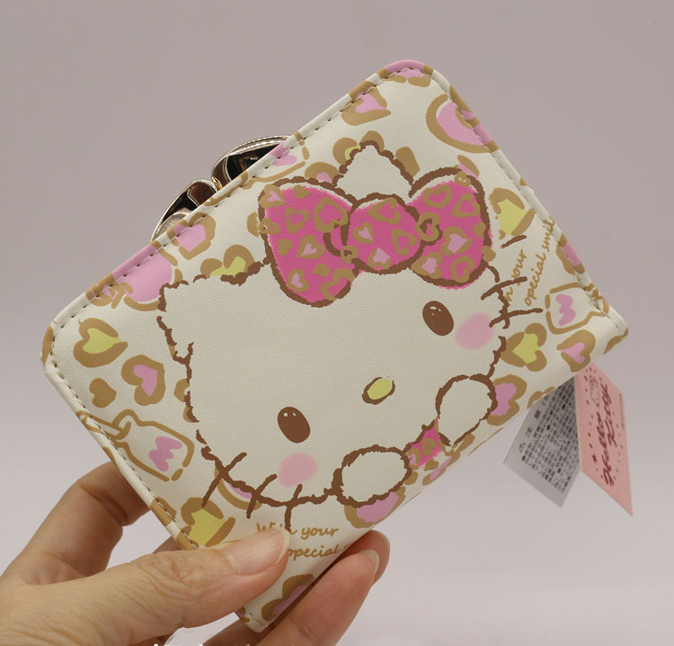 Hello Kitty Fashion short wallet female 2016 news Hasp famous brand cat women wallets High quality PU Pink Floral male wallet