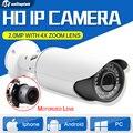 Безопасности Сети Пуля 2-МЕГАПИКСЕЛЬНАЯ HD 1080 P POE Ip-камера Водонепроницаемый Открытый 4X Зум С Автоматической Диафрагмой Моторизованный Объектив ИК 40 м Поддержка P2P Просмотра