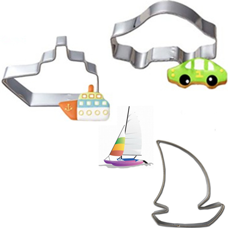 3pcs/set Silver Sailing boat Car Molding Cookie Cutter Biscuit Cake Baking Fondant Decoration Mold Stainless Steel Mould Tool