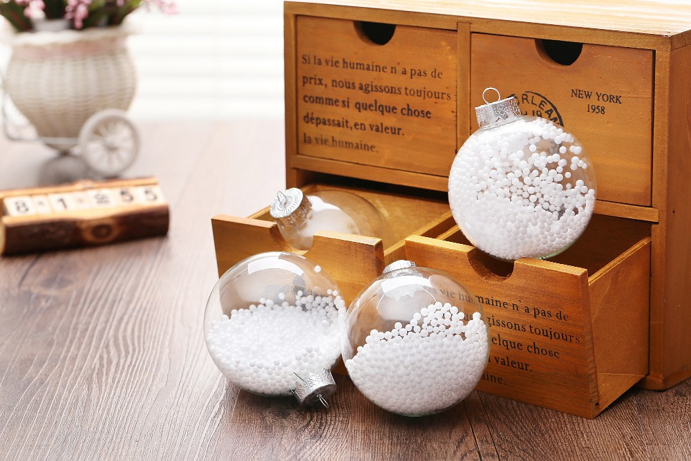 Factory Balls Christmas.Us 28 9 Factory Xmas Sale Clear Glass Balls Christmas Ball Wedding Decoration Props With White Round Particle In Event Party Decor In Ball
