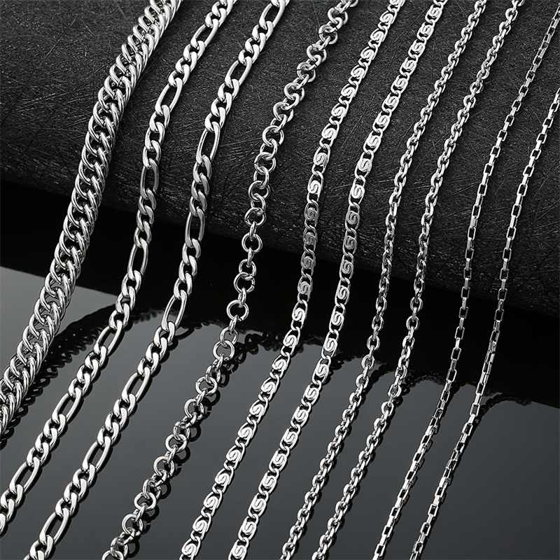 AZIZ BEKKAOUI Fashion Link Chain Choker Necklace For Men Women Stainless Steel Silver Necklace Mens Box Chains Gift 45-70cm