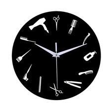 DIY парикмахерский магазин гигантские настенные часы с зеркальным эффектом парикмахерские Наборы инструментов декоративные бескаркасные часы парикмахерские настенные художественные