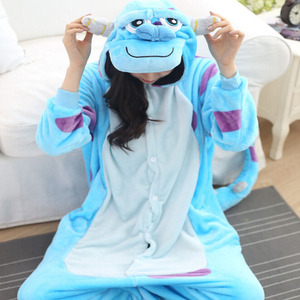 Image 2 - Monster Sullivan Kigurumi Pyjama Frauen Tiere Onesie Anime Cosplay Kostüm Erwachsene Flanell Maskottchen Set Teil Winter Warme Nachtwäsche