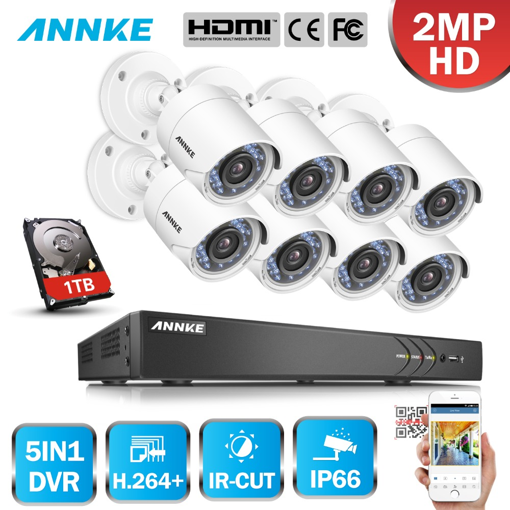 ANNKE 16CH 2MP HD 8PCS Security Camera System Outdoor 5 in 1 H.264 IP66 Weatherproof Video Surveillance CCTV System DVR Kit annke 8 channel hd 1080n video security system dvr 4 hd 960p indoor outdoor cameras with ip66 weatherproof