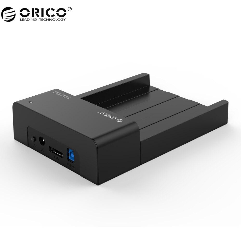 ORICO USB 3.0 & eSATA 2.5 & 3.5 SATA Hard Drive Docking Station Ferramenta Gratuita para 2.5 polegada e 3.5 de polegada HDD-Preto (6518SUS3-V2)