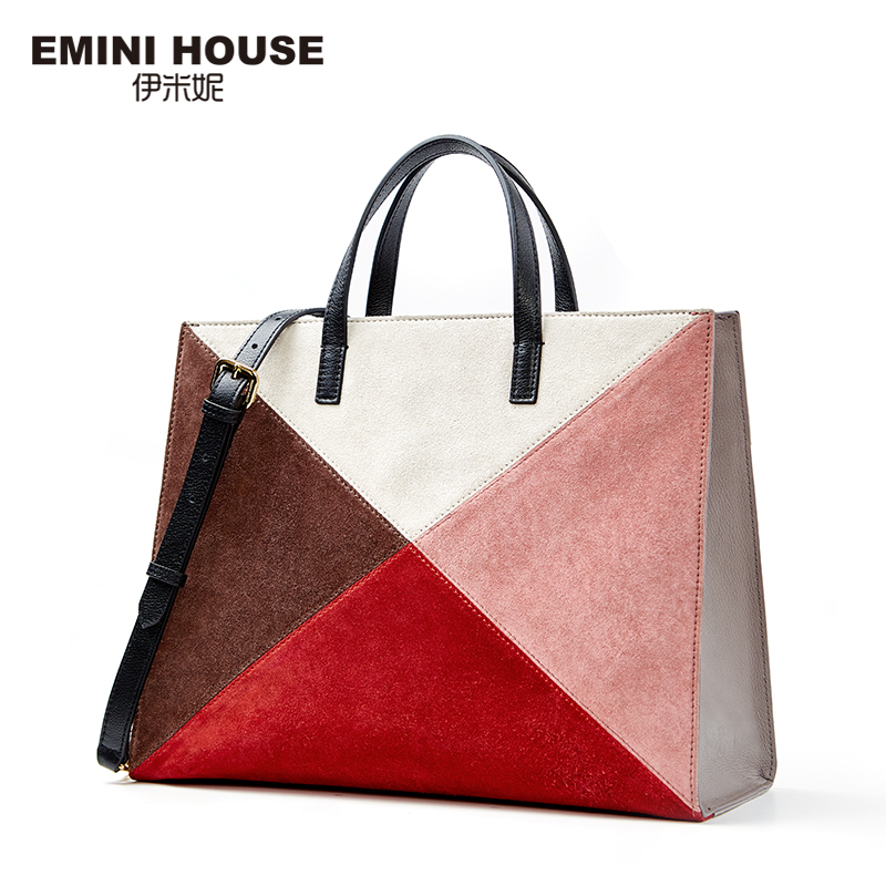 EMINI HOUSE Fashion Panelled Genuine Leather Tote Bag Shoulder Bag Luxury Handbags Women Bags Designer Crossbody Bags For Women серьги fashion house даниэлла цвет серебряный белый