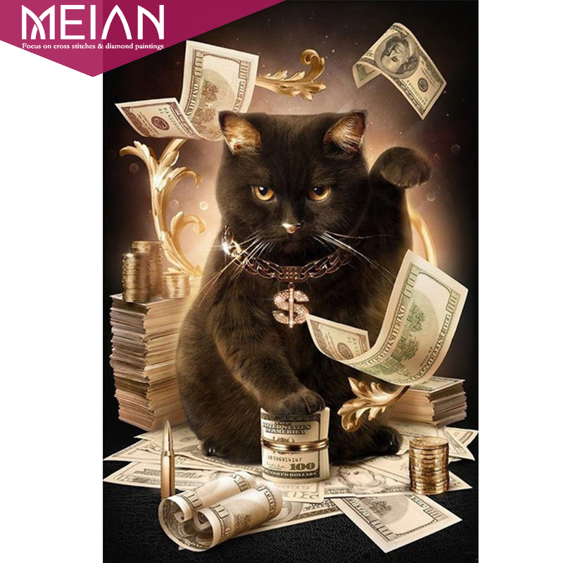 Meian, 5d, completo, diy diamante Bordado, pintura del diamante, puntada cruzada, 3D, diamante redondo, mosaico, costura, Navidad, gato del dinero, nuevo