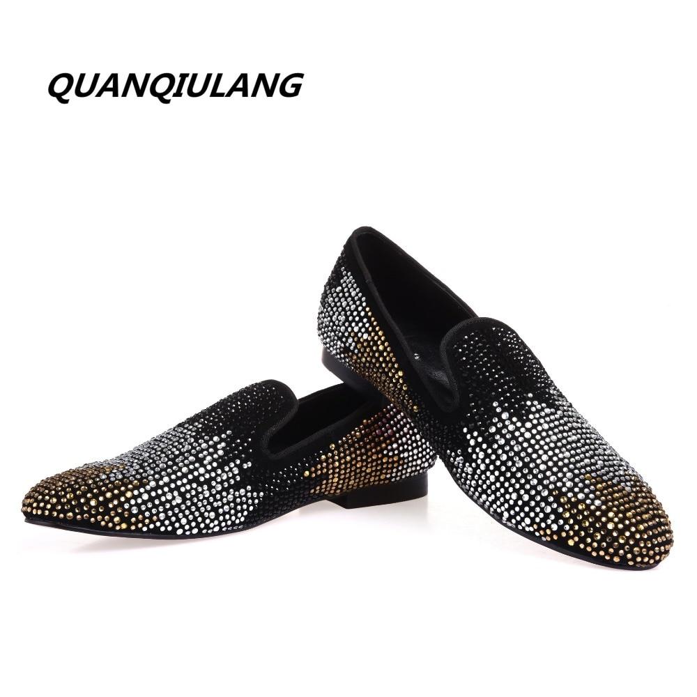 2017 new designer red shoes golden colour diamond shoes diamond leather fashion design men s casual