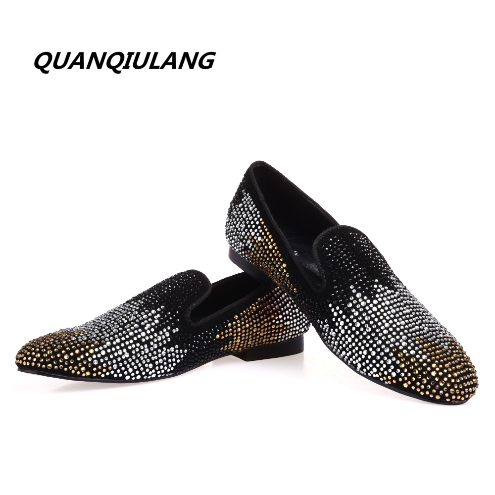 2017 new designer red shoes golden colour diamond shoes diamond leather fashion design men's casual shoes 38-47
