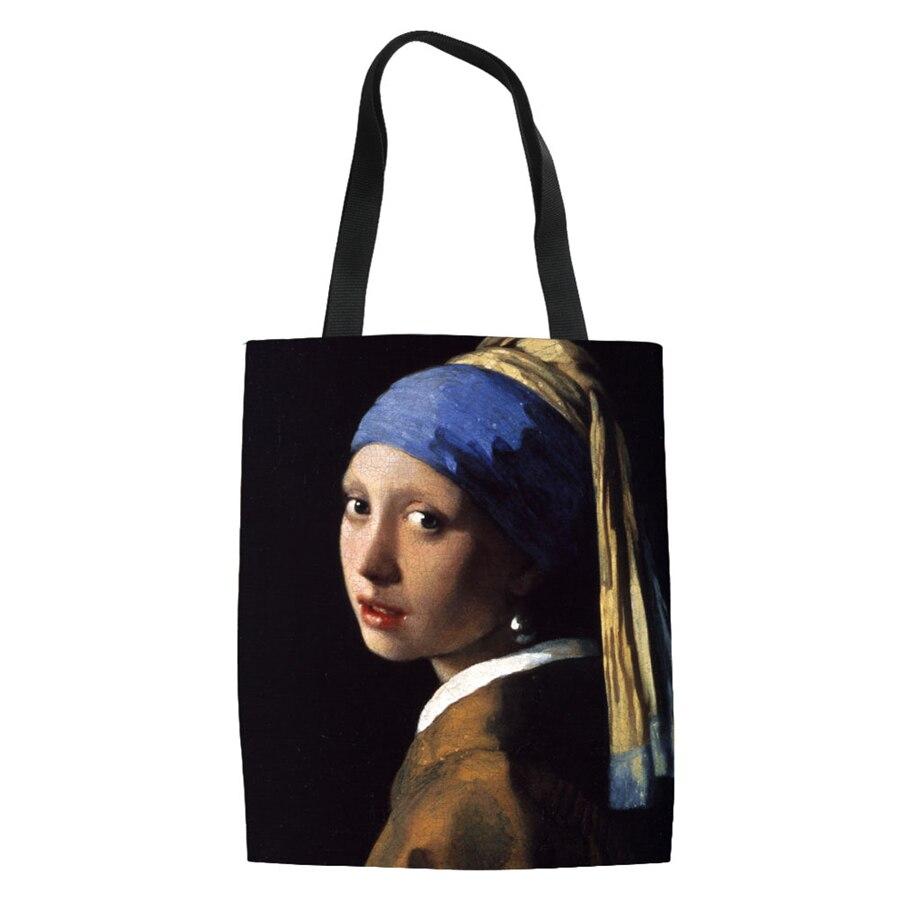 Famous Painting Shopping Bags Travel Custom Bags Reusable Handbag Women Shoulder Cloth Pouch Foldable Girl Olils Large Linen Bag