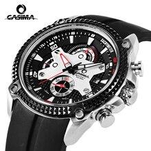 Marca de luxo relógios homens Do Esporte Da Forma Elegent mens mesa relógio de quartzo pulseira de silicone luminosa CASIMA à prova d' água 100 m #8207