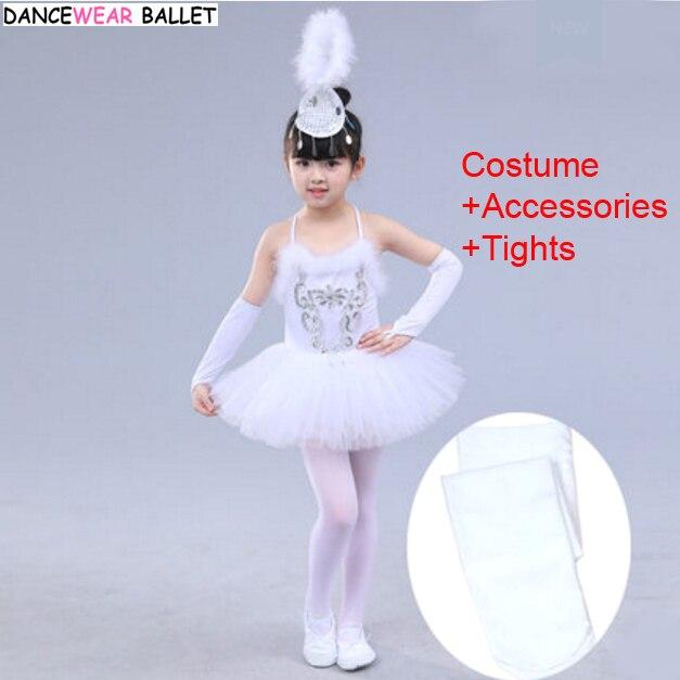 7bd39182e Girls Ballet Dress Child White Swan Lake Dance Costume Kids Girls Ballet  Tutu Dress Gymnastics Leotard Dancewear Costume +Tights