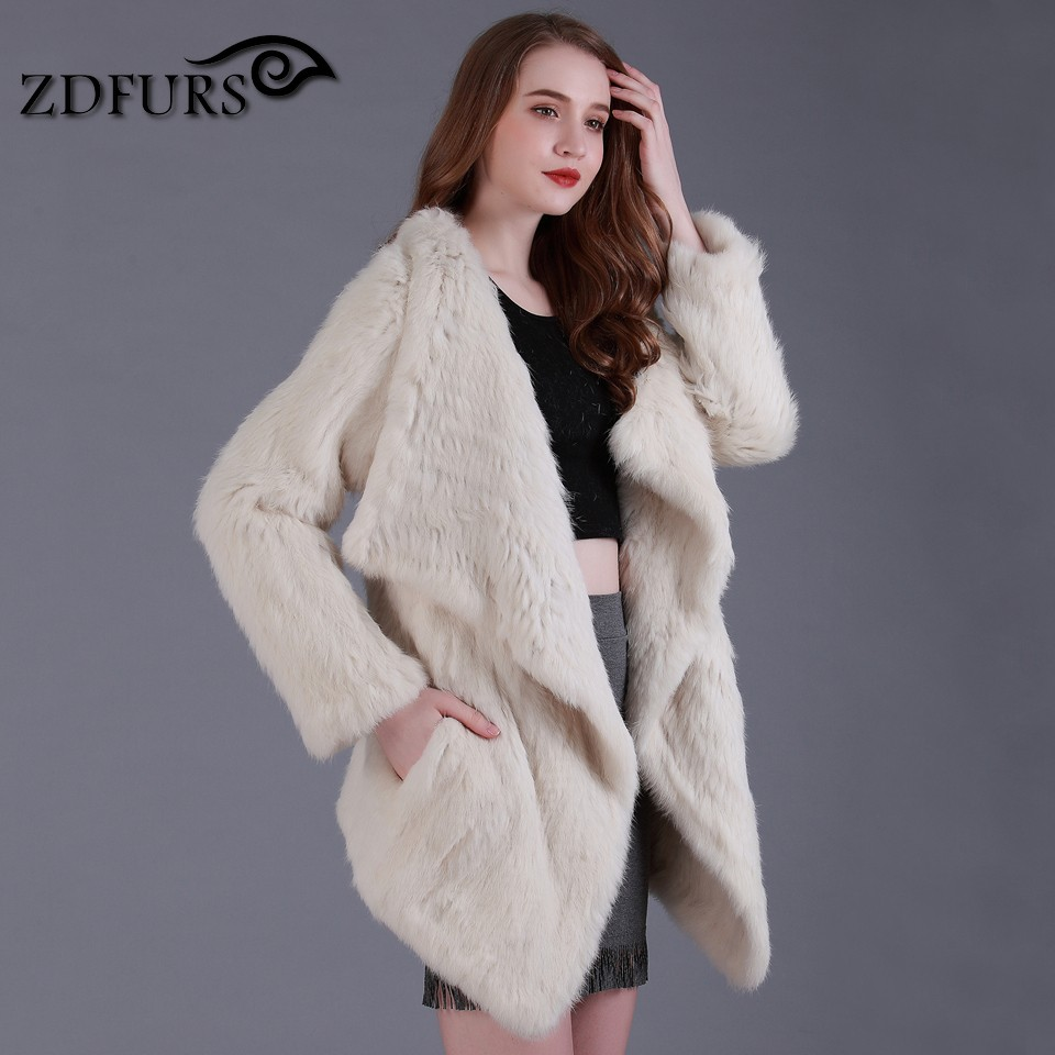 ZDFURS *  Genuine knitted Rabbit Fur Coat Fashion Women knit Rabbit Fur Jacket Winter Warm long Rabbit Fur Outwear ZDKR-165012
