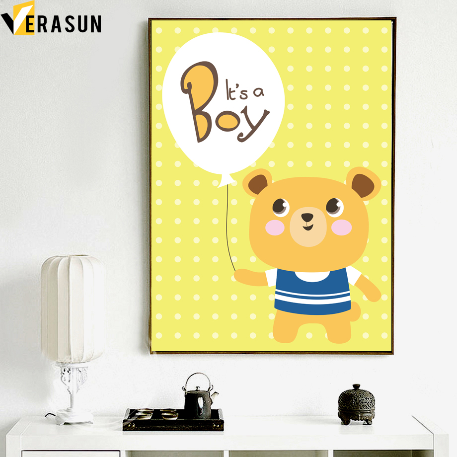 Animal Bear Hippo Boy Girl Quote Posters And Prints Wall Art Canvas ...