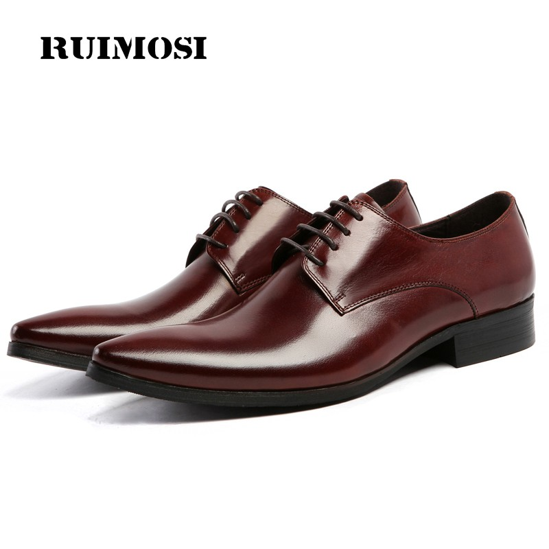 RUIMOSI Italian Designer Brand Man Formal Dress Shoes Genuine Leather Handmade Oxfords Pointed Toe Men's Flats For Bridal BD31