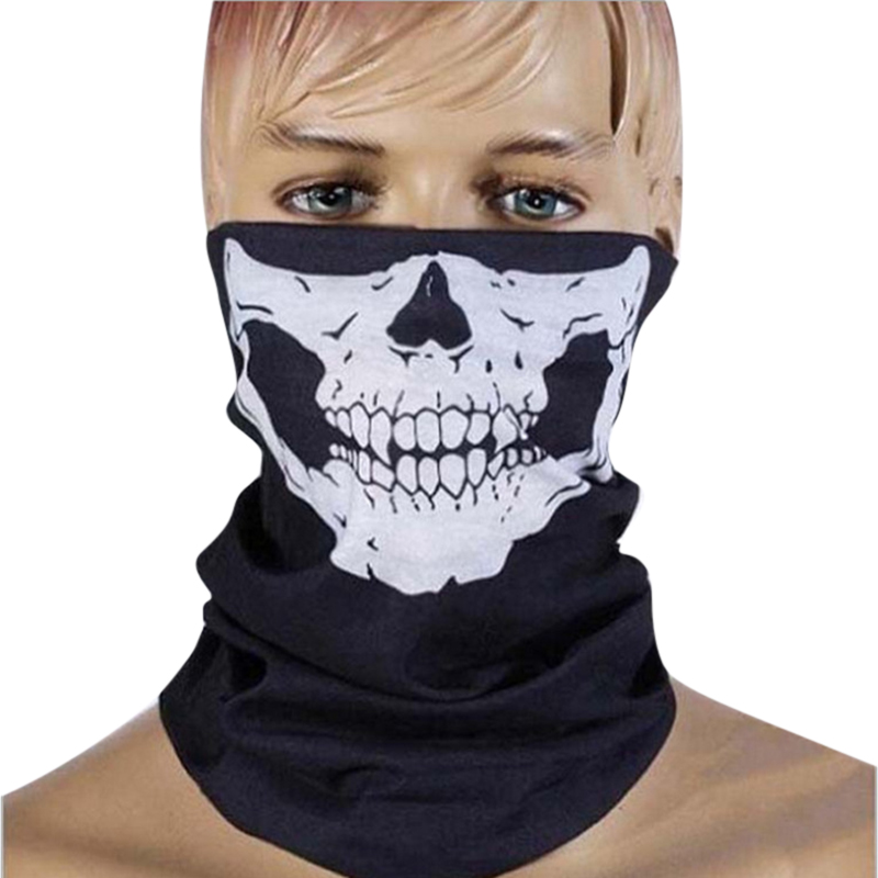 Punk New 3 in1 Men Women Unisex Skull Hat Neck Tube Snood  Face Mask Cap bonnet Scarf Beanie Biker Balaclava Halloween W1 novelty women men winter warm black full face cover three holes mask beanie hat cap fashion accessory unisex free shipping