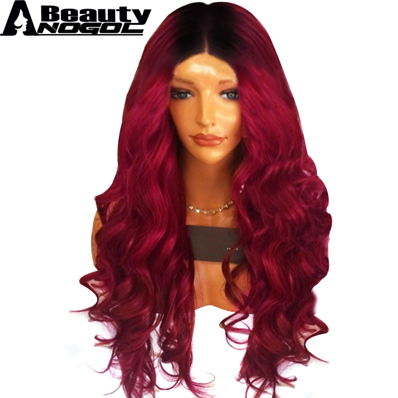 ANOGOL BEAUTY Hair Cap+Burgundy Ombre Dark Roots Wine Red Long Body Wave Synthetic Lace Front Wig for Women with Middle Part