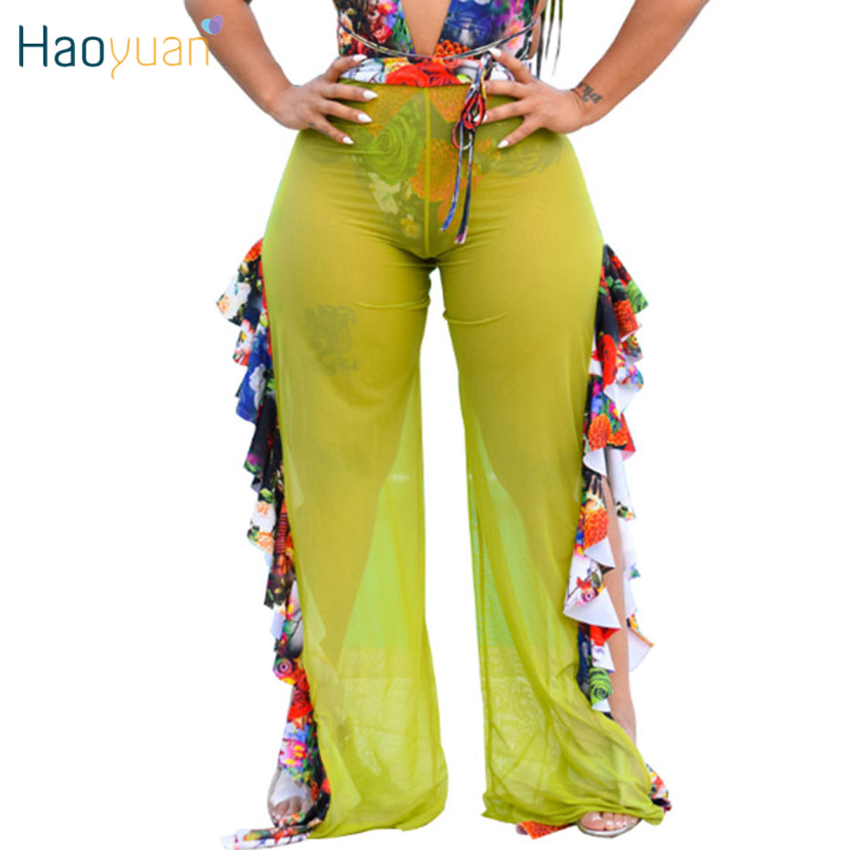 HAOYUAN Floral Print Ruffle Sheer Mesh   Wide     Leg     Pants   Women Summer Holiday Beach Boho   Pants   High Waist Party Club Sexy Trousers