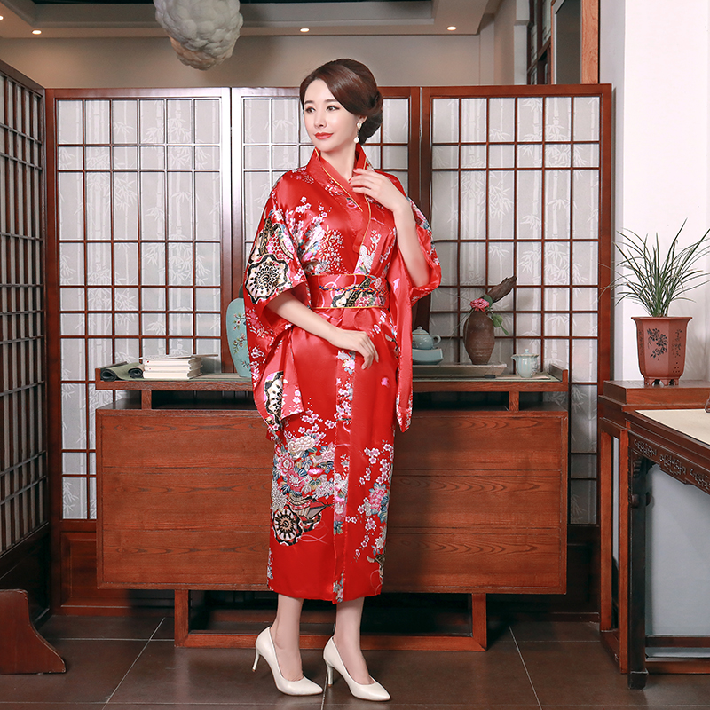 Red Fashion National Trends Women Sexy Kimono Yukata With Obi Novelty Evening Dress Japanese Cosplay Costume Floral One Size