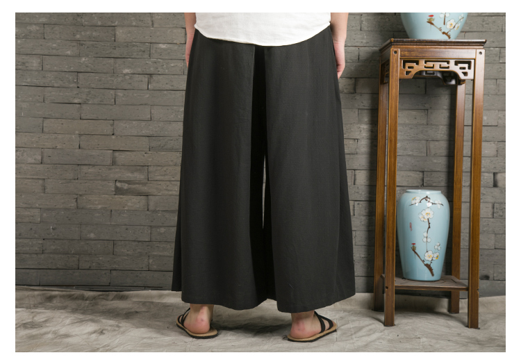 Sinicism Store 2020 Japanese Wide Leg Pants Men Streetwear Casual Cotton Linen Man Sweatpants Summer Chinese Style Male Joggers 43