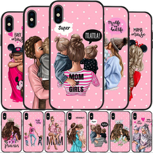 IMIDO Super Mama Mouse Dad Girl Mom Boy Baby Case For Cover iphone 7 8 X XS XSMax XR 6 Plus 5S Soft Etui