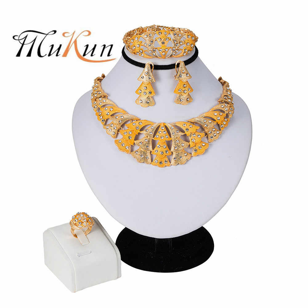 MUKUN 2019 NEW Nigerian Wedding African Beads Zinc Alloy Jewelry Sets Dubai Jewelry Sets Necklace Bracelet Earrings Ring Sets