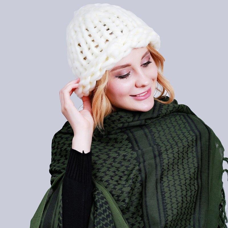 женщины зимняя шапка 2017 ручной теплые вязаные грубых линий кабель