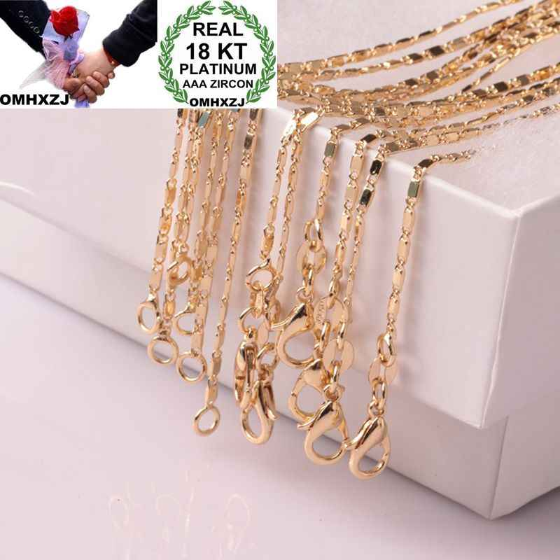 OMHXZJ Wholesale European Fashion Woman Man Party Wedding Gift Flat Chain 18KT Yellow Gold Chain Necklace NA214