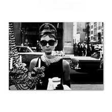 AFFLATUS Black White Audrey Hepburn Wall Art Canvas Painting Nordic Posters And Prints Pictures For Living Room Home Decor