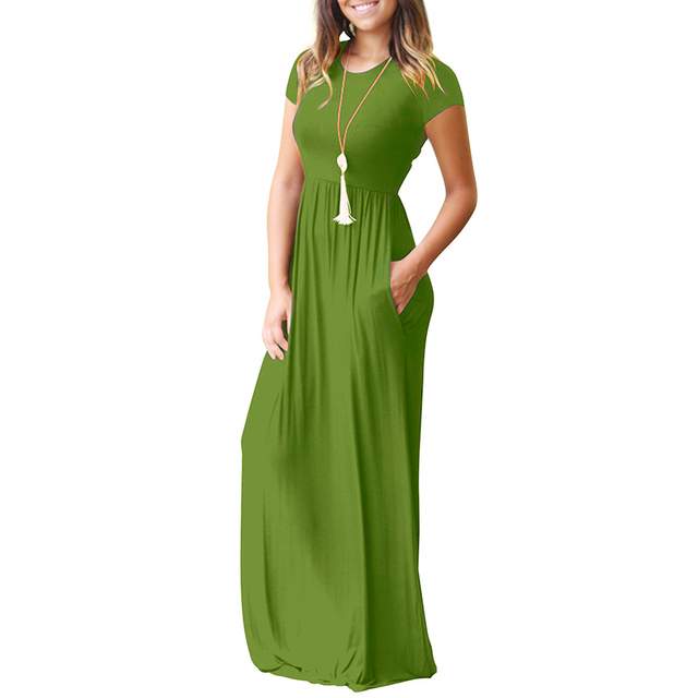 298129c7762 Aliexpress.com : Buy Summer Casual Long Dresses For Women Short Sleeve  Pocket Floor Length Maxi Dress Women O Neck Solid Dress Female Vestidos  from ...