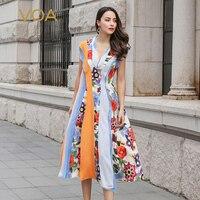VOA 100% чистый шелк платье женские элегантные цветочный принт Длинные летние платья женский Boho драпированные vestidos V образным вырезом Милая од